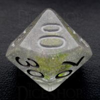 TDSO Encapsulated Glitter Flower Green Percentile Dice