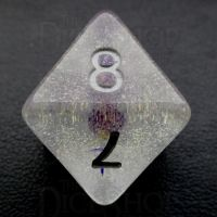 TDSO Encapsulated Glitter Flower Purple D8 Dice