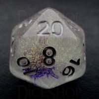 TDSO Encapsulated Glitter Flower Purple D20 Dice
