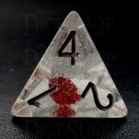 TDSO Encapsulated Glitter Flower Red D4 Dice