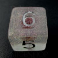 TDSO Encapsulated Glitter Flower Red D6 Dice