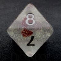 TDSO Encapsulated Glitter Flower Red D8 Dice