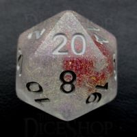 TDSO Encapsulated Glitter Flower Red D20 Dice