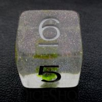 TDSO Encapsulated Glitter Flower Yellow D6 Dice