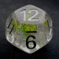 TDSO Encapsulated Glitter Flower Yellow D12 Dice