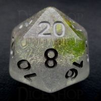 TDSO Encapsulated Glitter Flower Yellow D20 Dice
