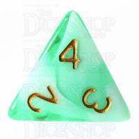 TDSO Marble Bright Green & White D4 Dice