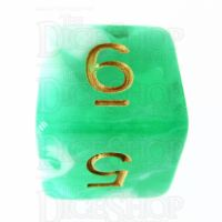 TDSO Marble Bright Green & White D6 Dice
