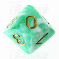 TDSO Marble Bright Green & White D10 Dice
