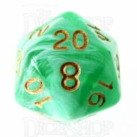 TDSO Marble Bright Green & White D20 Dice