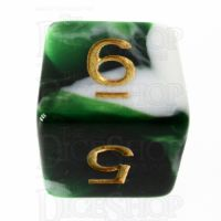TDSO Marble Dark Green & White D6 Dice