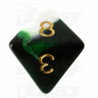 TDSO Marble Dark Green & White D8 Dice