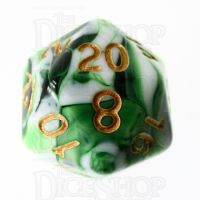 TDSO Marble Dark Green & White D20 Dice