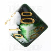 TDSO Marble Dark Green & White Percentile Dice