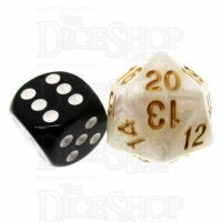 TDSO Pearl White & Gold 22mm D20 Countdown Dice