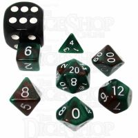 TDSO Duel Brown & Green MINI 10mm 7 Dice Polyset