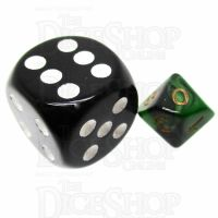 TDSO Duel Black & Green MINI 10mm D10 Dice