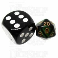 TDSO Duel Black & Green MINI 10mm D20 Dice