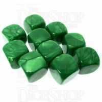 TDSO Pearl Blank Green 16mm 10 x D6 Dice Set