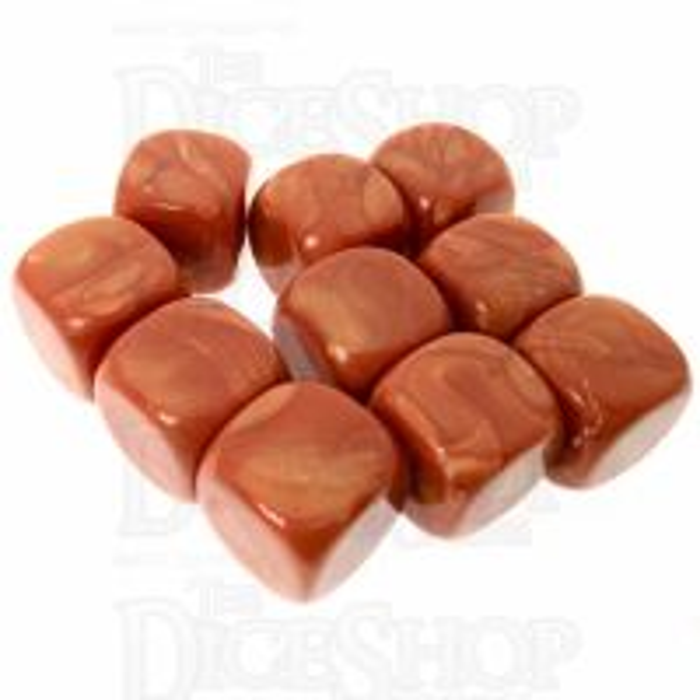 TDSO Pearl Blank Copper 16mm 10 x D6 Dice Set