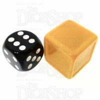 D&G Opaque Golden Yellow Blank Indented 19mm D6 Dice - For Stickers
