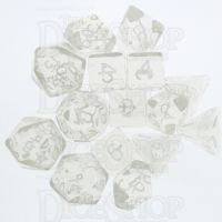 Role 4 Initiative Translucent Clear & White 15 Dice Polyset