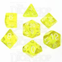 Role 4 Initiative Translucent Yellow & White 7 Dice Polyset