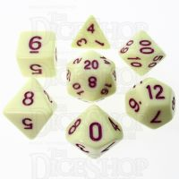 TDSO Pastel Opaque Yellow & Purple 7 Dice Polyset