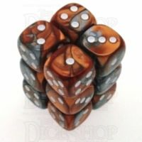 Chessex Gemini Copper & Steel 12 x D6 Dice Set