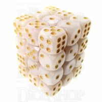 TDSO Pearl White & Gold 36 x D6 Dice Set