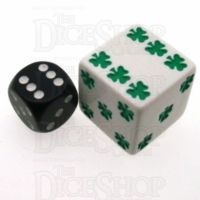 Koplow Opaque White Lucky Shamrock Logo 25mm D6 Spot Dice