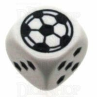 Koplow White Football Soccer Logo 18mm D6 Spot Dice