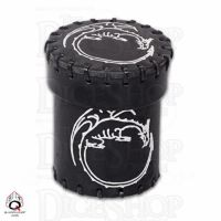 Q Workshop Dragon Black Leather Dice Cup & Holder with Lid