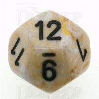 Chessex Marble Ivory & Black D12 Dice