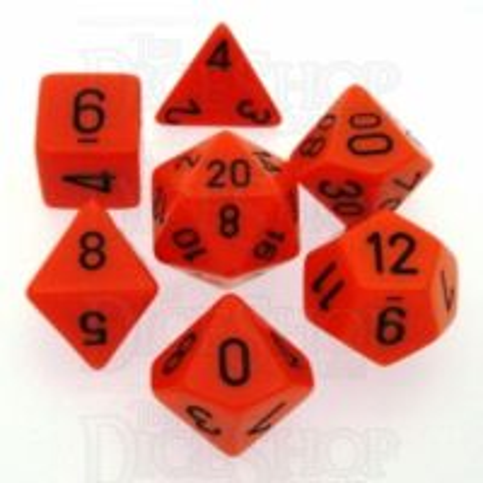Chessex Opaque Orange & Black 7 Dice Polyset