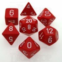 Chessex Opaque Red & White 7 Dice Polyset