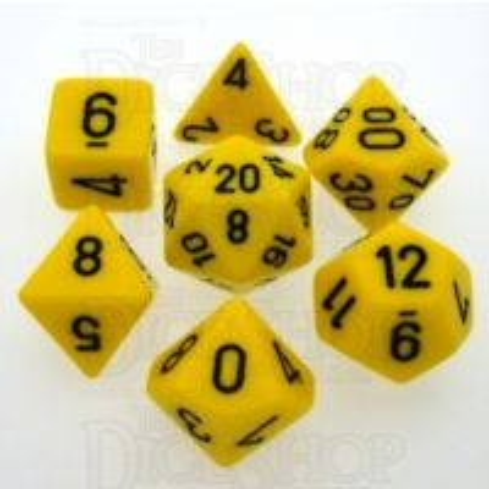 Chessex Opaque Yellow & Black 7 Dice Polyset