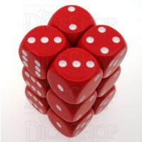 Chessex Opaque Red & White 12 x D6 Dice Set