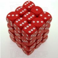 Chessex Opaque Red & White 36 x D6 Dice Set