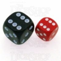Chessex Opaque Red & White 12mm D6 Spot Dice