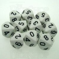 Chessex Opaque White & Black 10 x D10 Dice Set