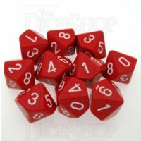 Chessex Opaque Red & White 10 x D10 Dice Set