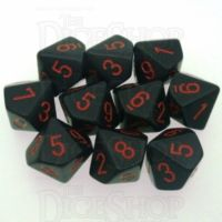 Chessex Opaque Black & Red 10 x D10 Dice Set