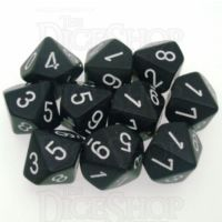 Chessex Opaque Black & White 10 x D10 Dice Set