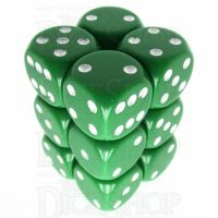 Chessex Opaque Green & White 12 x D6 Dice Set