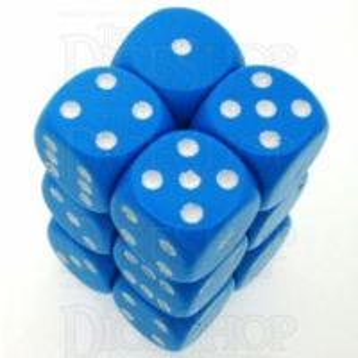 Chessex Opaque Light Blue & White 12 x D6 Dice Set
