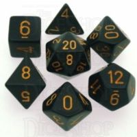 Chessex Opaque Black & Gold 7 Dice Polyset