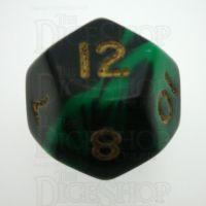 D&G Oblivion Green & Black D12 Dice