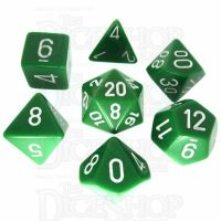 Chessex Opaque Green & White 7 Dice Polyset