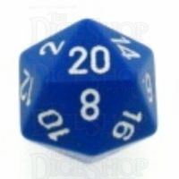 Chessex Opaque Blue & White D20 Dice